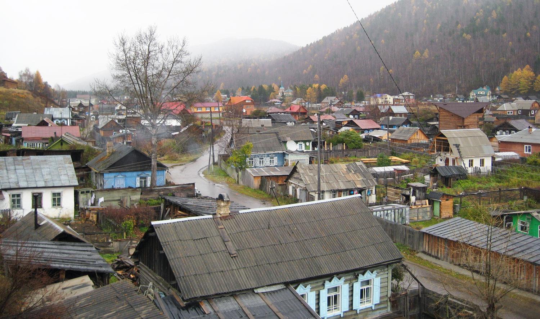 Listvyanka vid Bajkalsjön i Ryssland