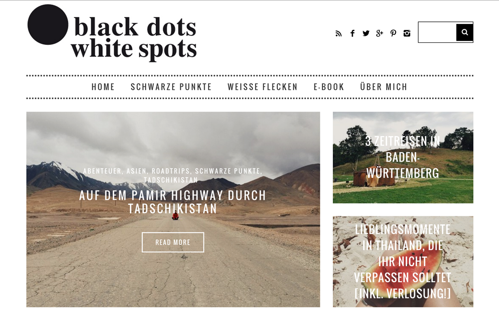 Travel blog Black dot white spot