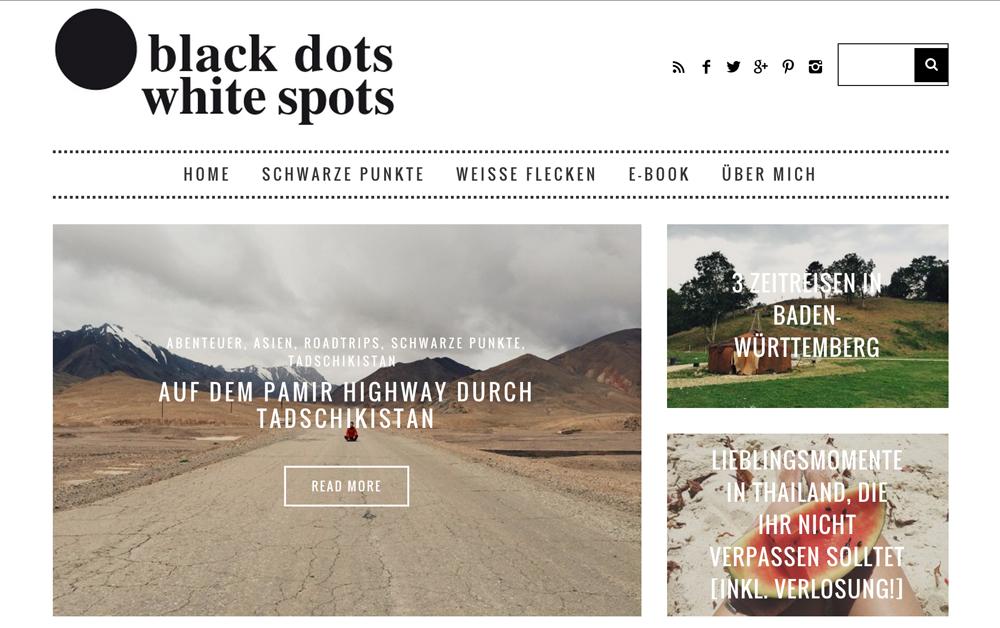 Travel blog Black dot white spot