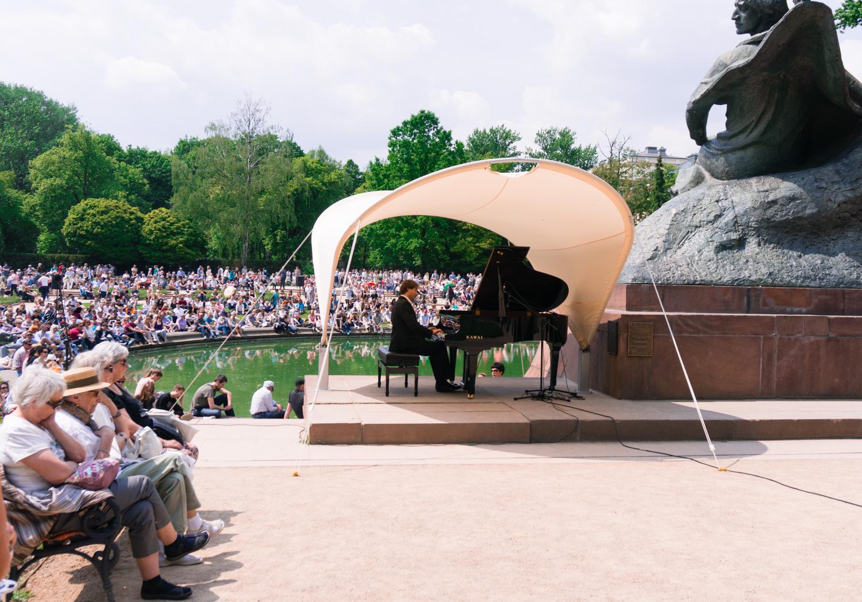 Chopin i Lazienkiparken i Warszawa