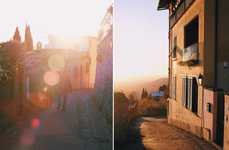 Solnedgång i Toscana, Italien