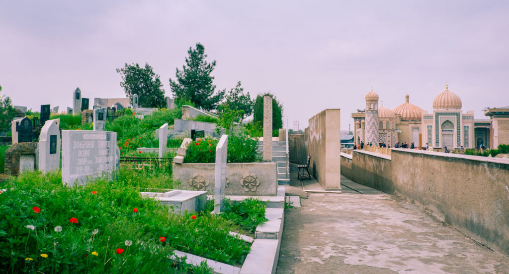 Gravplatsen vid Hazrat khizr i Samarkand i Uzbekistan