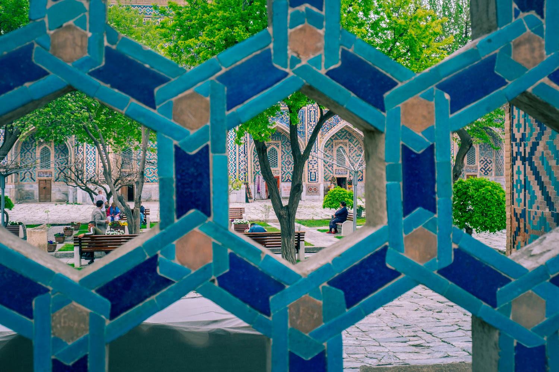 Innergårdarna vid Registan i Samarkand i Uzbekistan