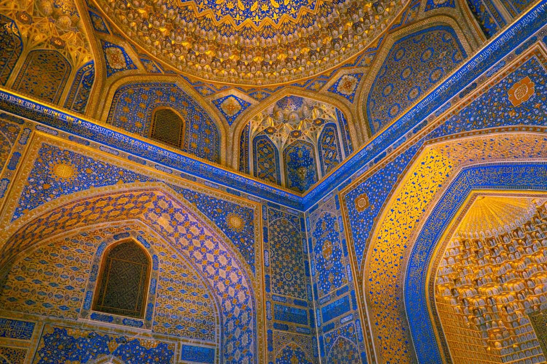 Mosaiken i Registan i Samarkand i Uzbekistan