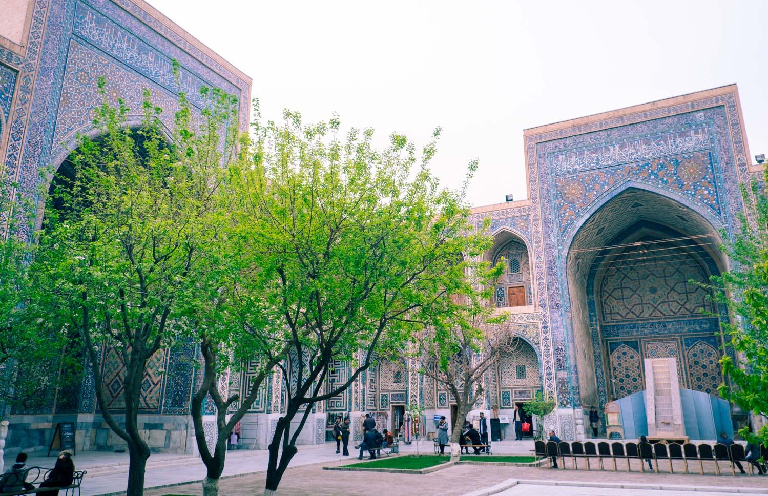 Mosaiken vid Registan i Samarkand i Uzbekistan