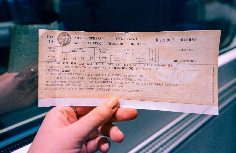 Så ser en tågbiljett ut i Uzbekistan.
